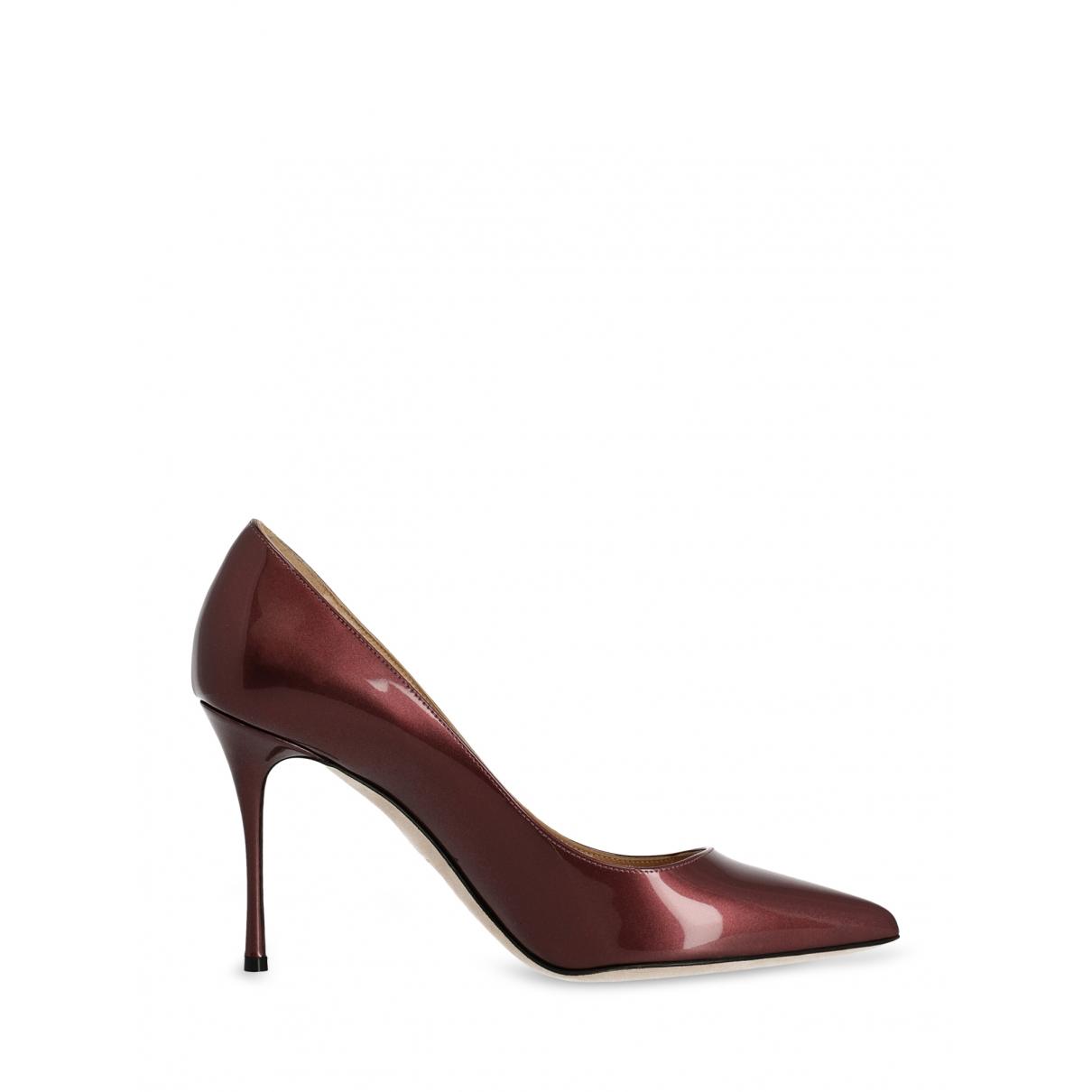 Sergio Rossi - Escarpins   pour femme en cuir - bordeaux