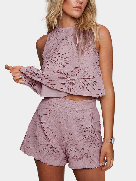 Yoins Purple Sexy Hollow Design Lace Sleeveless Co-ord