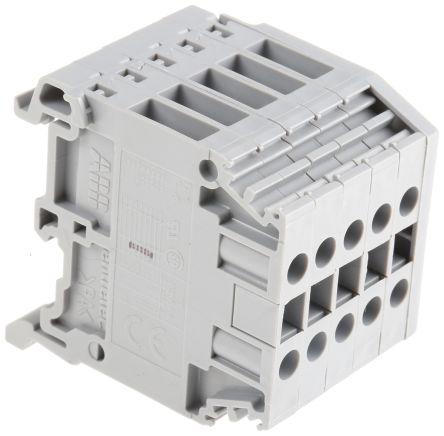 Entrelec Distribution Block, 5 Way, 4mm², 32A, 800 V, Grey