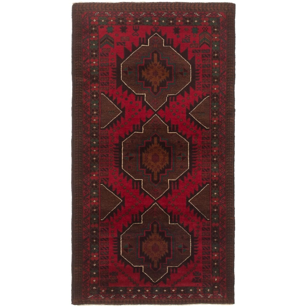 ECARPETGALLERY Hand-knotted Rizbaft Red Wool Rug - 3'0 x 6'2 (Red - 3'0 x 6'2)