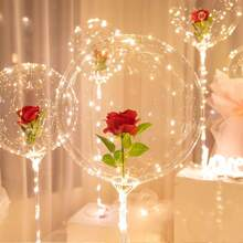 1pc Artificial Rose & 1pc String Light & 1pc Balloon