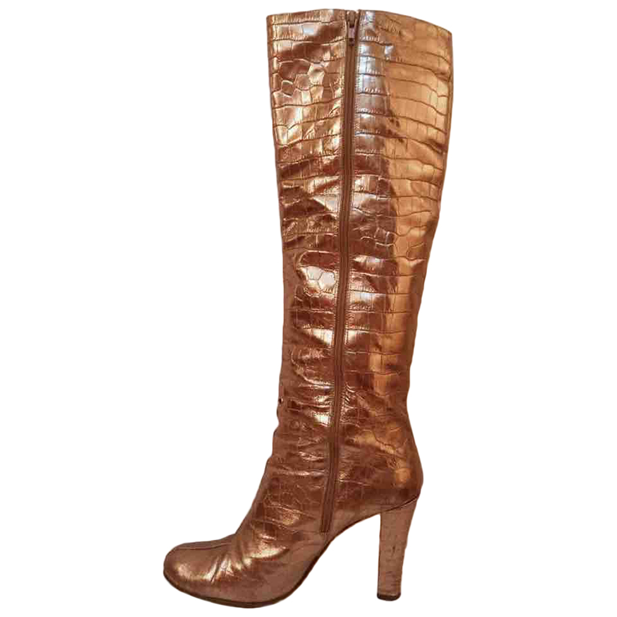 Non Signe / Unsigned \N Stiefel in  Gold Leder