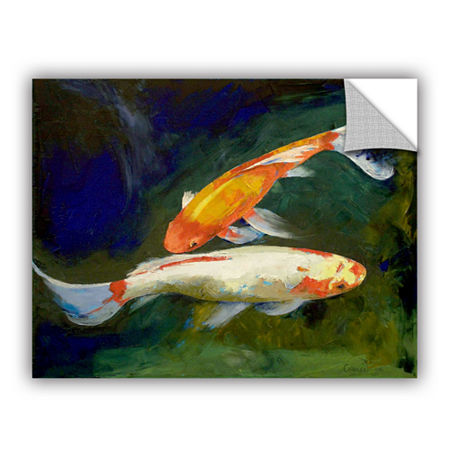 Brushstone Feng Shui Koi Fish Removable Wall Decal, One Size , Green