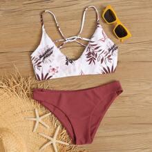 Bañador bikini de espalda con cordon tropical