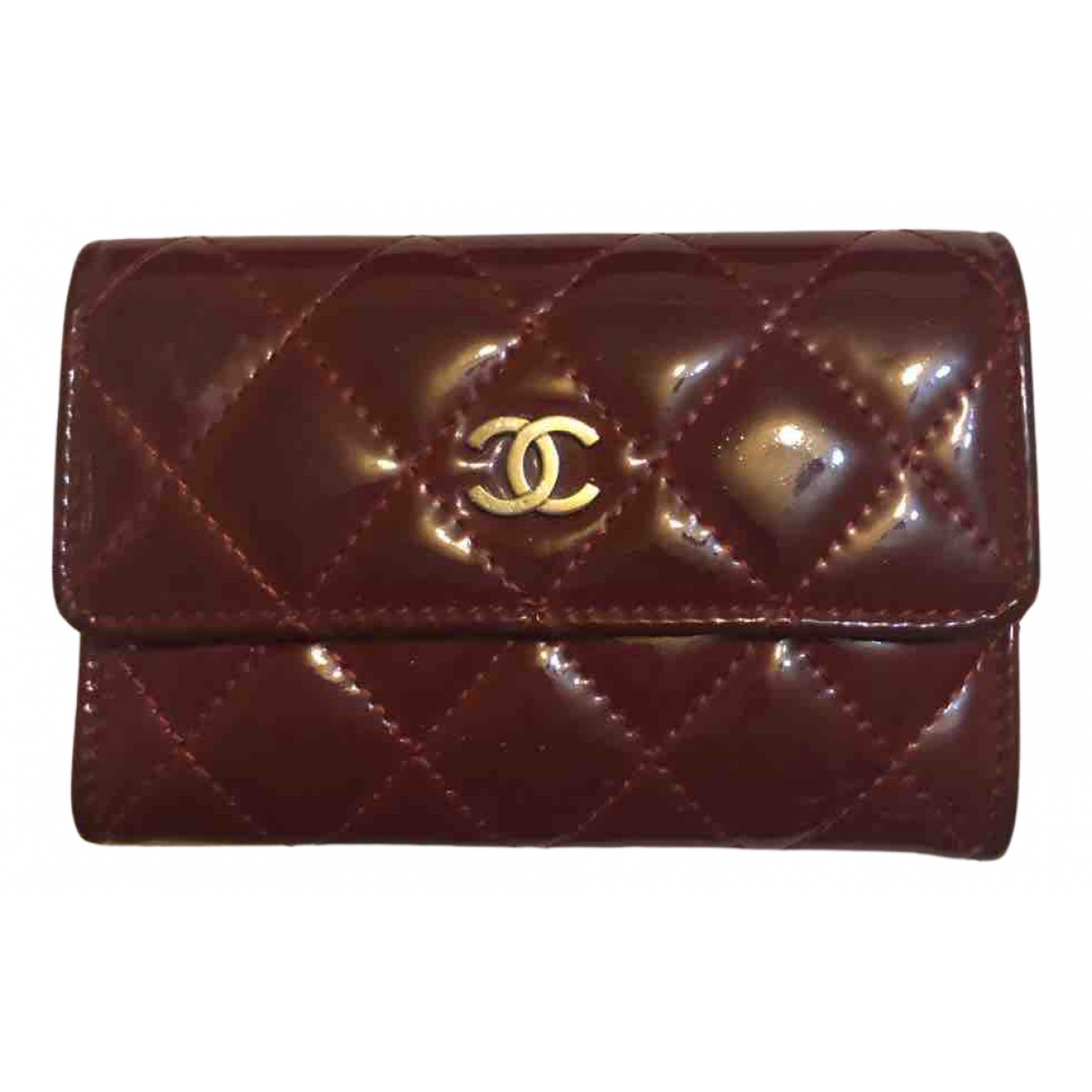 Chanel N Burgundy Patent leather wallet for Women N