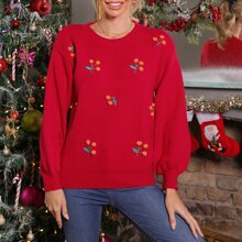 Drop Shoulder Pom Pom Embroidery Sweater