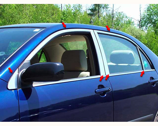 Quality Automotive Accessories 12-Piece Window Package with Pillars Toyota Corolla 2004
