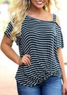 Striped Twist One Shoulder Blouse