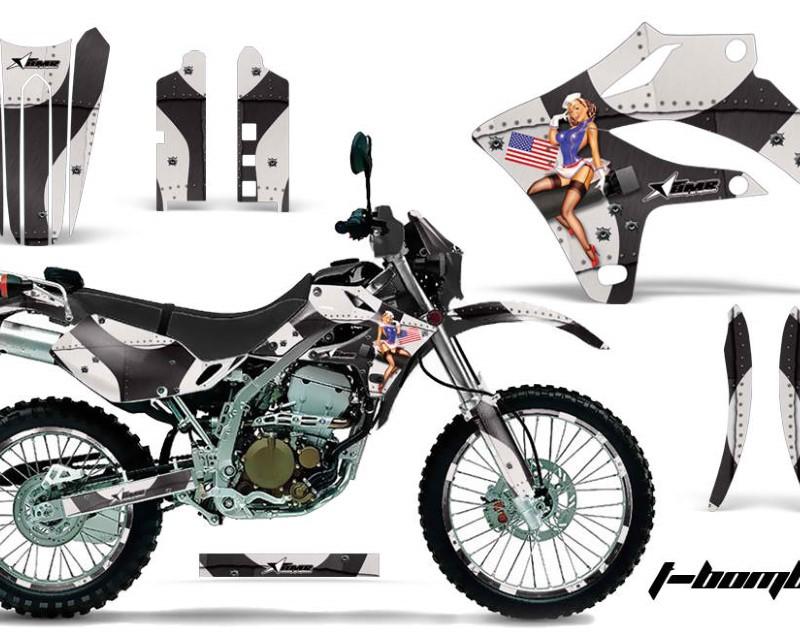 AMR Racing Graphics MX-NP-KLX250S-04-07-TB K Kit MX Decal Wrap + # Plates For Kawasaki KLX250S 2004-2007áTBOMBER BLACK