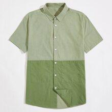 Men Colorblock Button Front Shirt