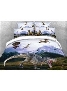 3D Dinosaur Soft Microfiber Bedding 4Pcs Animal Duvet/Comforter Cover Set