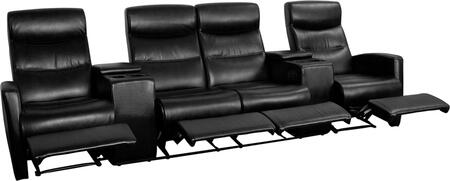 BT-70273-4-BK-GG Black Leather 4-Seat Home Theater Recliner with Storage