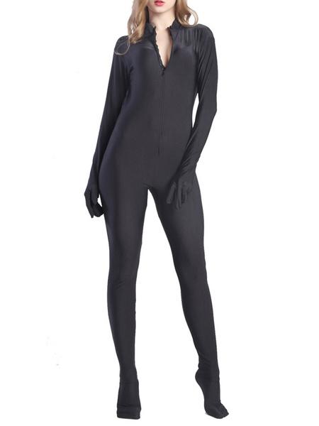 Milanoo Black Sexy Bodysuit Adults Lycra Spandex Catsuit for Women