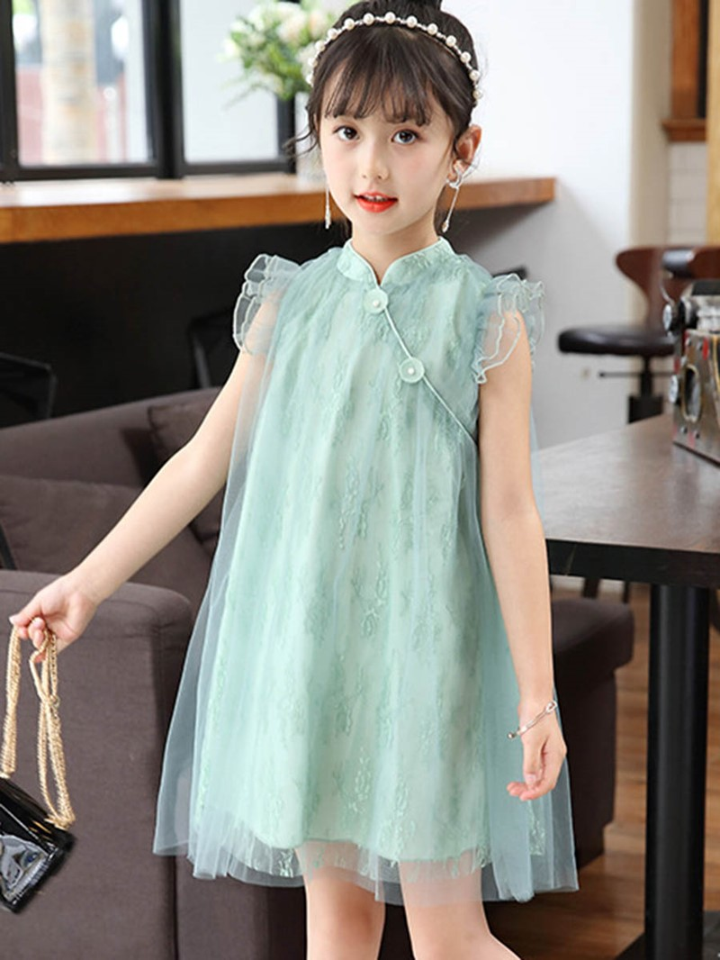 Ericdress Mesh Stringy Selvedge Lace Girl's Princess Dress