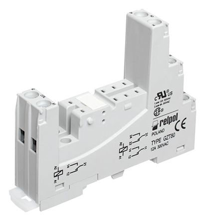 Relpol 2 Pin Relay Socket, DIN Rail for use with RM84 Relay, RM85 Inrush Relay, RM85 Relay, RM85 Sensitive Relay, RM87L