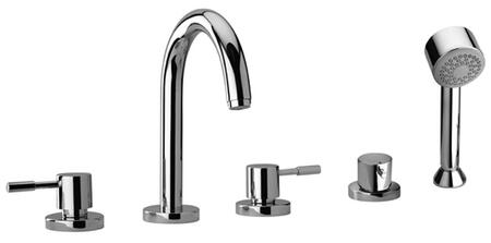 16109-92 Two Lever Handle Roman Tub Faucet and Hand Shower With Goose Neck Spout  Designer Rose Gold