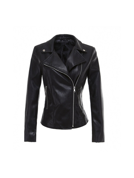 Milanoo Black Moto Jacket Leather Like Zipper Lace Up Biker Jacket For Women