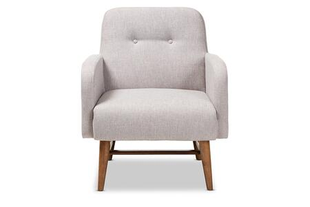 Perrine Collection BBT5316-GREYISHBEIGE Lounge Chair with Foam Filled Cushion  Mid-Century Style  Walnut Finished Rubberwood Tapered Legs and