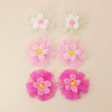6 Stuecke Kleinkind Maedchen Haarklammer mit Blumen Muster und Netzstoff