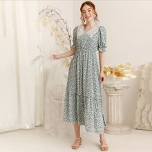 Embroidery Mesh Panel Ditsy Floral A-line Dress