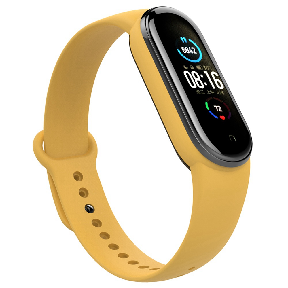 Replacement Silicon Bracelet Strap Band for Xiaomi Mi Band 5 - Yellow