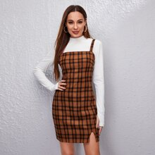 Plaid Split Hem Cami Dress