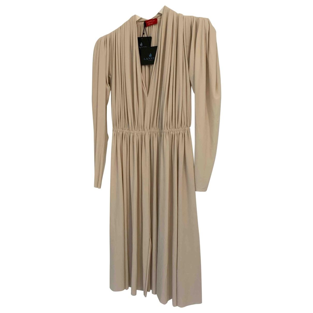 Lanvin \N Kleid in  Beige Baumwolle - Elasthan