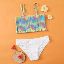 Bañador bikini de niñas de Tie Dye fruncido smocked