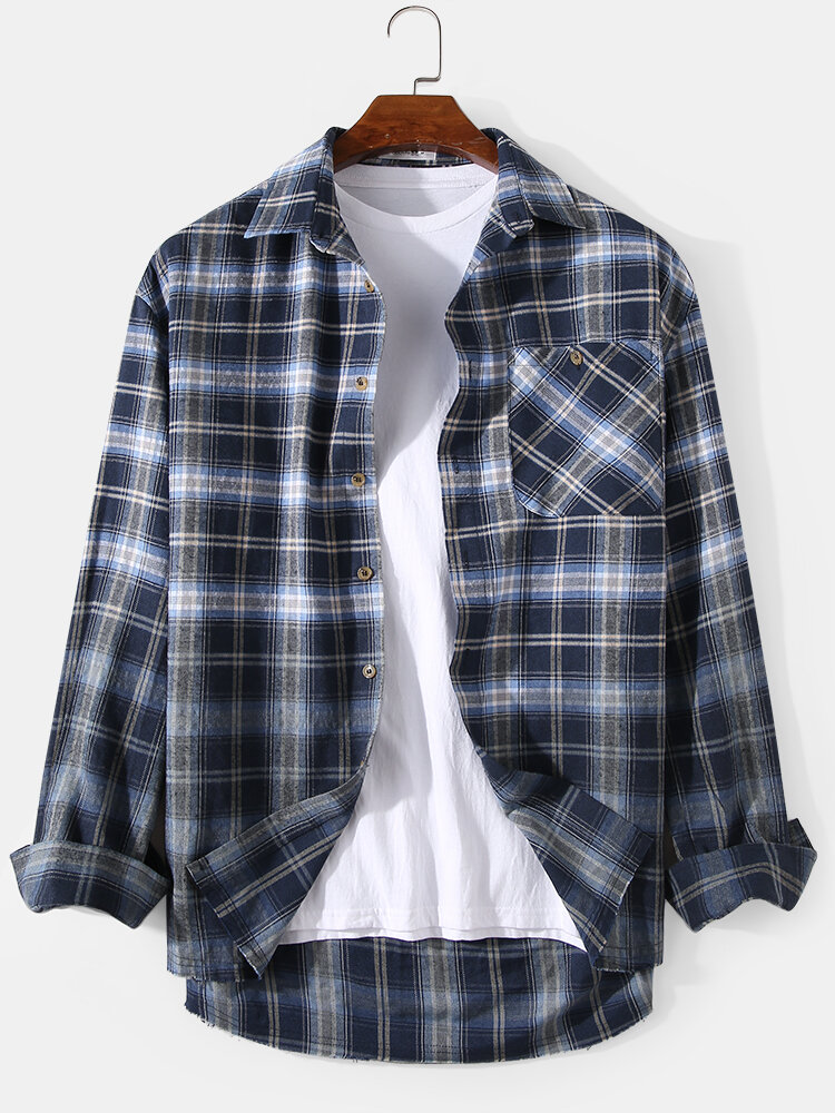 Mens Plaid Ombre Print Chest Pocket Casual Long Sleeve Shirts