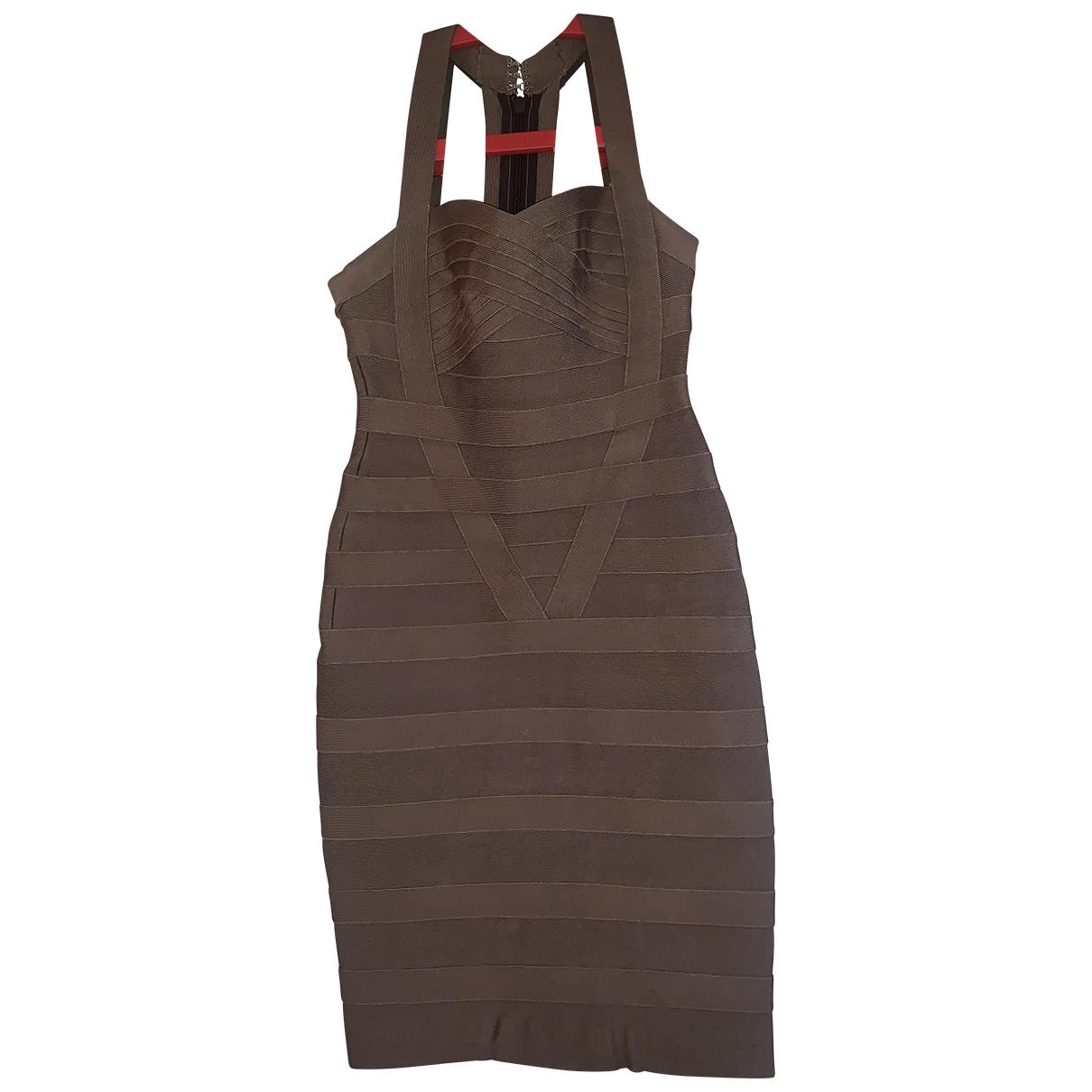 Herve Leger \N Kleid in  Braun Baumwolle - Elasthan