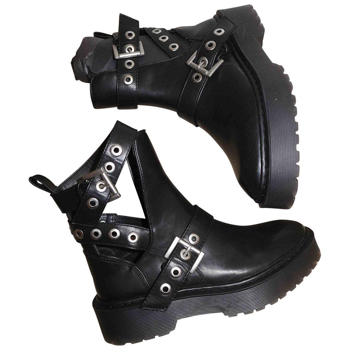 Zara - Boots   pour femme en caoutchouc - noir