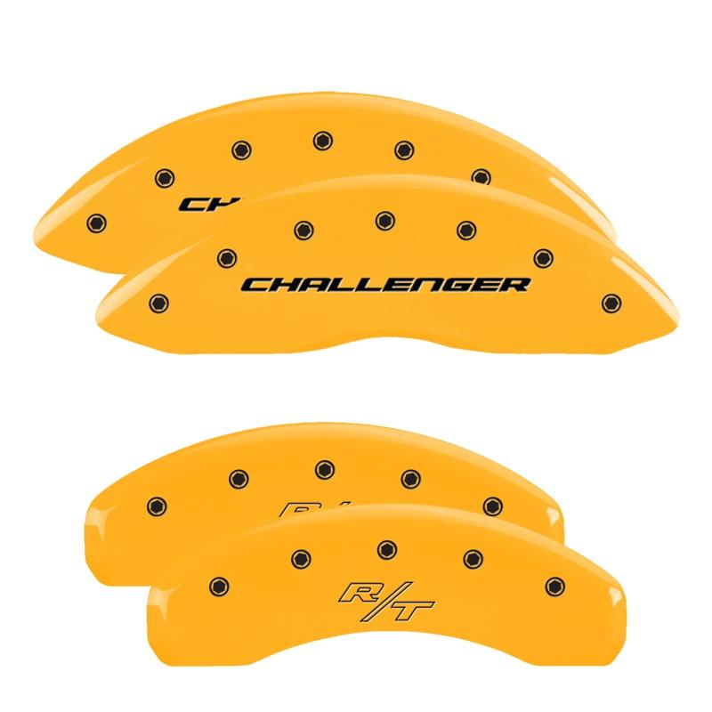 MGP Caliper Covers 12088SCBRYL Set of 4: Yellow finish, Black Challenger (Block) / R/T Dodge
