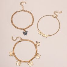 3pcs Butterfly & Angel Chain Anklet