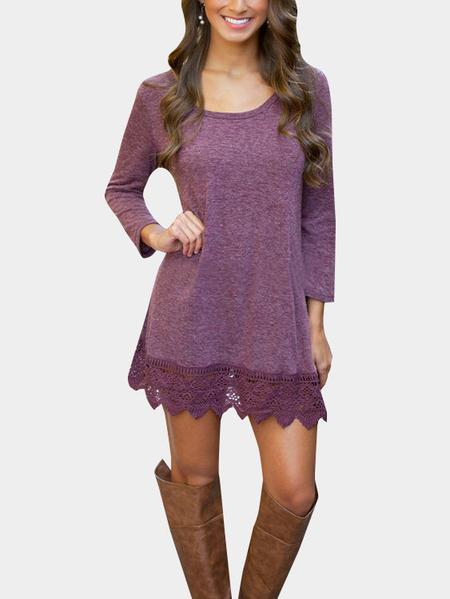 Yoins Purple Fashion Lace Hem Mini Dress
