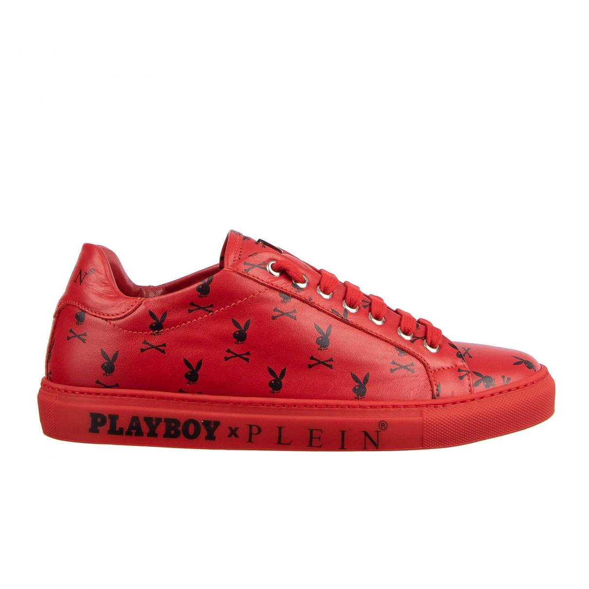 Philipp Plein - Baskets   pour homme en cuir - rouge