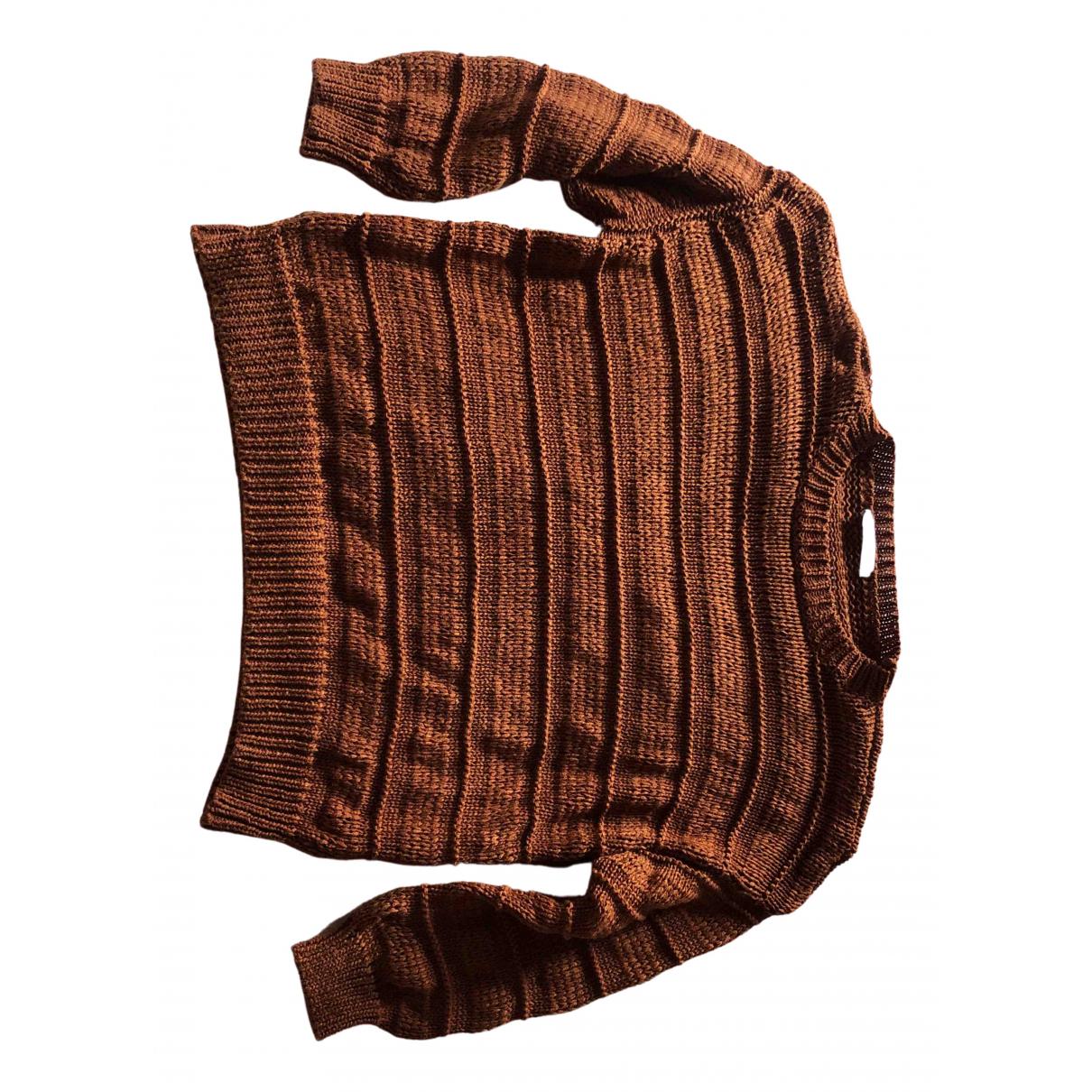 Mango - Pull   pour femme en coton - marron