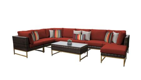 Barcelona BARCELONA-09d-GLD-TERRACOTTA 9-Piece Patio Set 02a with 3 Corner Chairs  4 Armless Chairs  1 Coffee Table and 1 Ottoman - Beige and