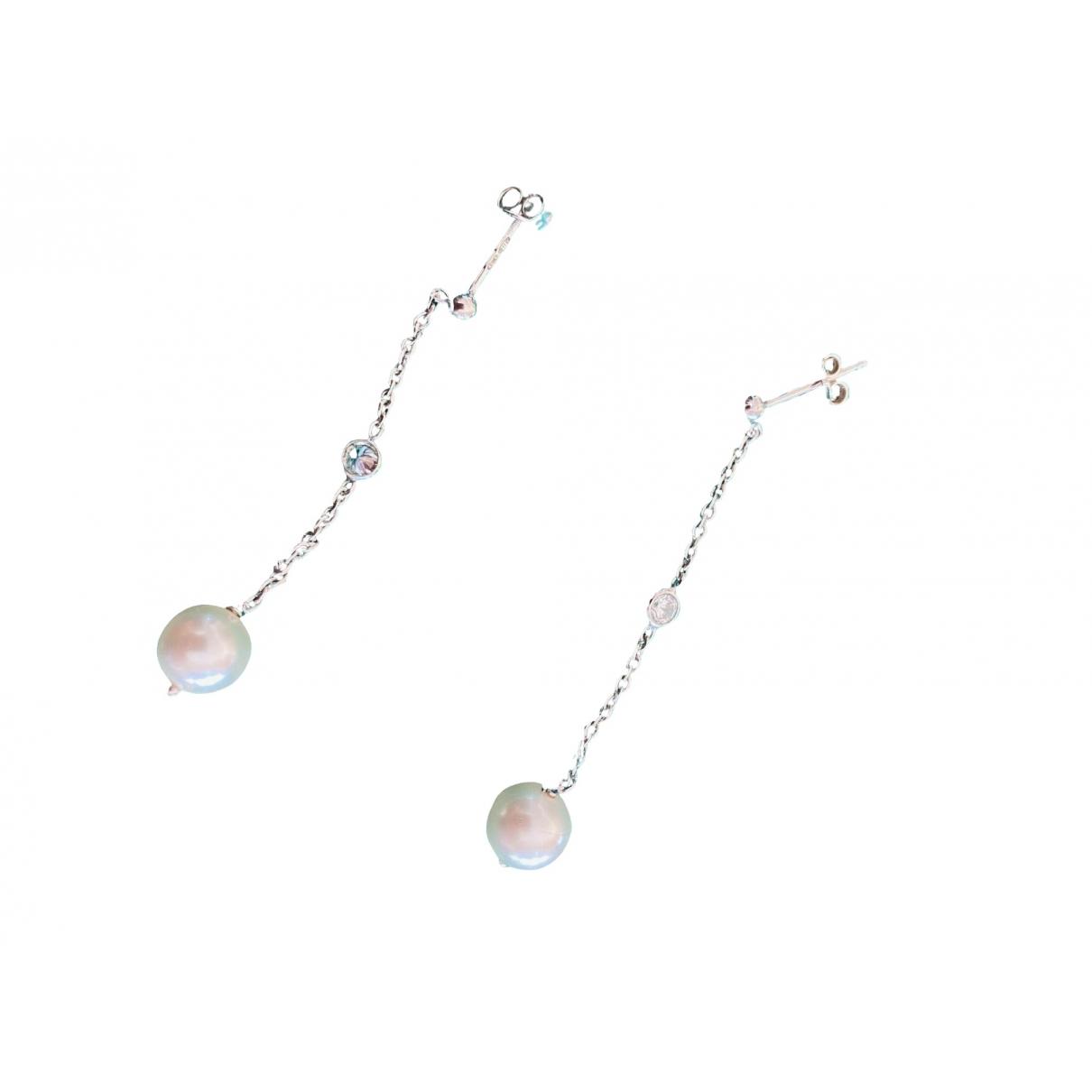 - Boucles doreilles Nacre pour femme en argent - blanc