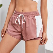 Shorts deportivos de cintura con cordon panel en contraste