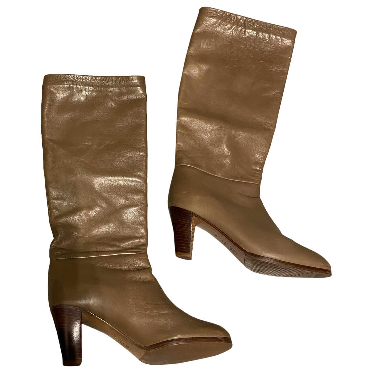 Barneys New York - Bottes   pour femme en cuir - beige