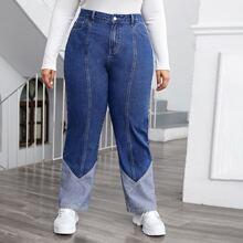 Jeans mit hoher Taille und Farbblock