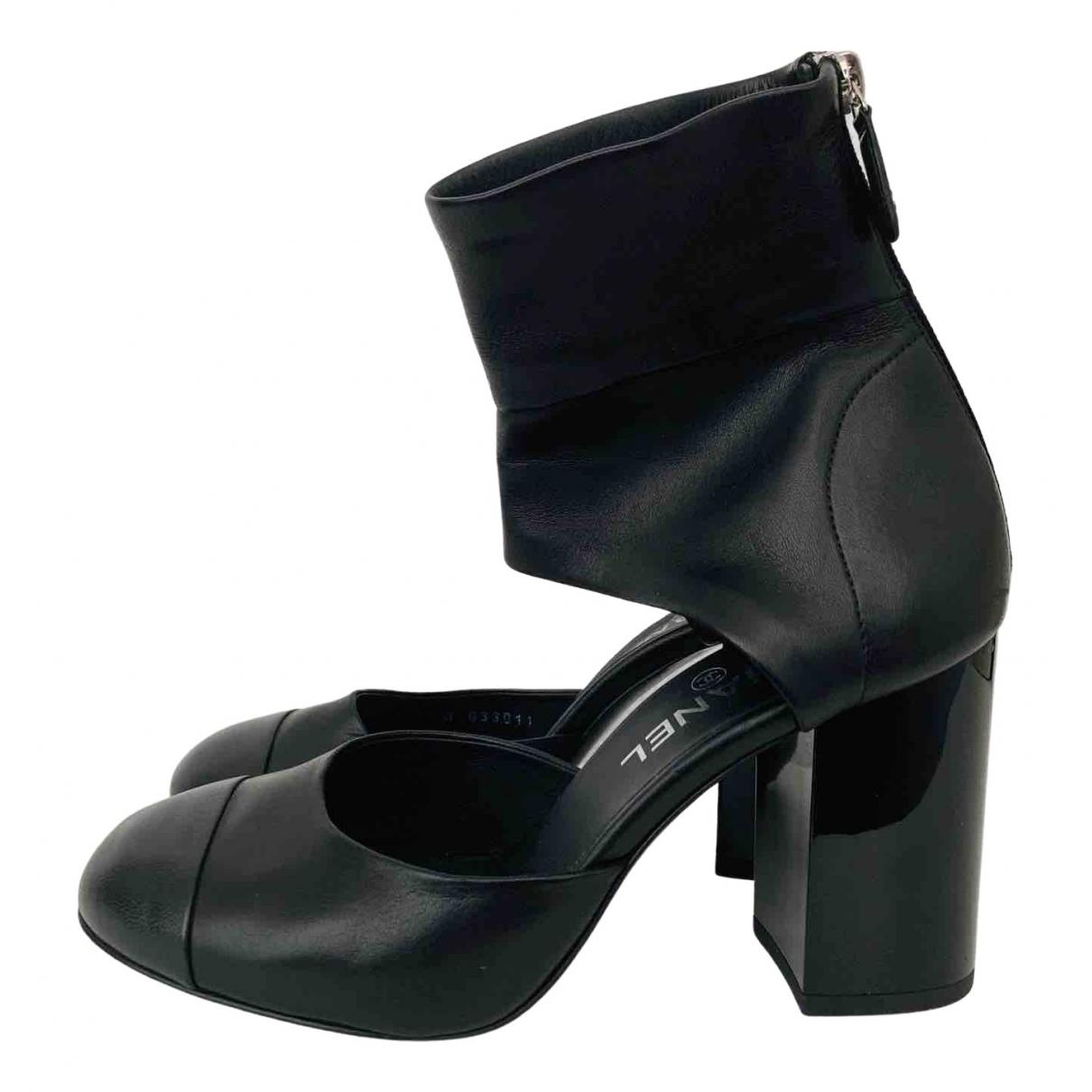 Chanel \N Black Leather Heels for Women 38.5 EU