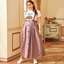 Plus Buttoned Front Boxy Pleated Pinafore Skirt
