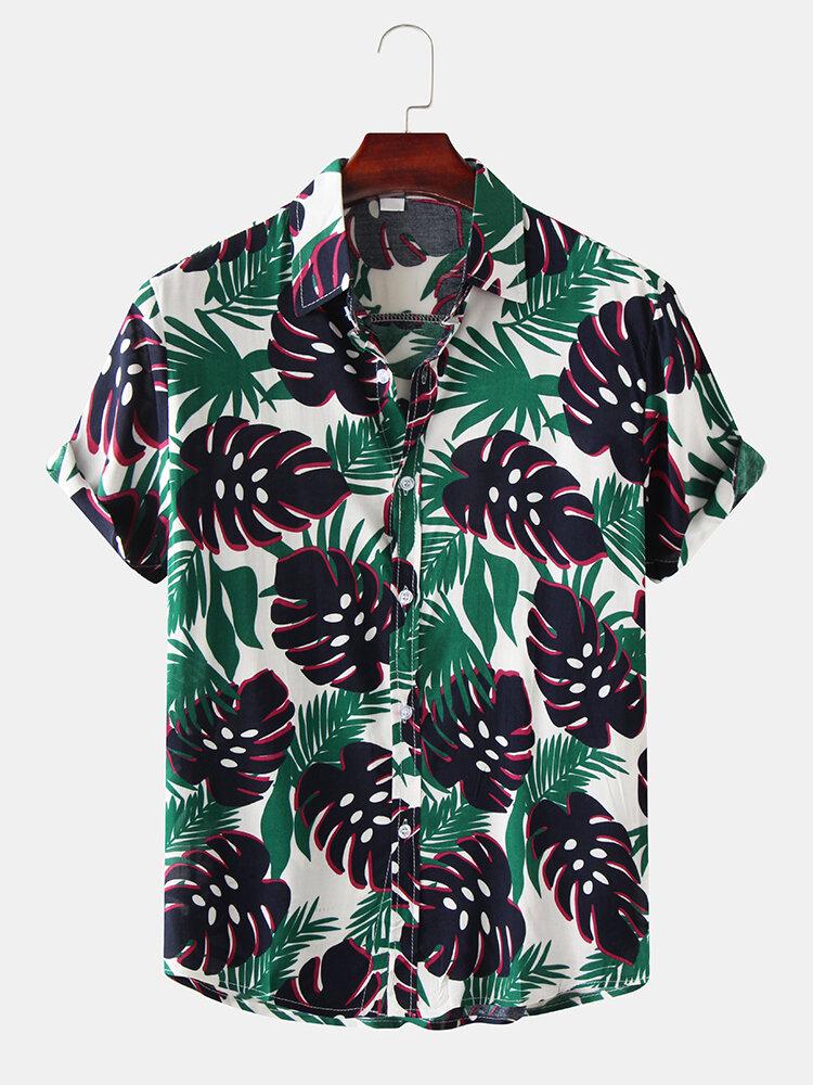 Mens Plant Leaf Turn Down Collar Short Sleeve Shirts