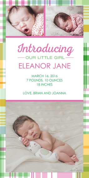 Newborn Flat Matte Photo Paper Cards with Envelopes, 4x8, Card & Stationery -Madras Plaid Announcement - Girl