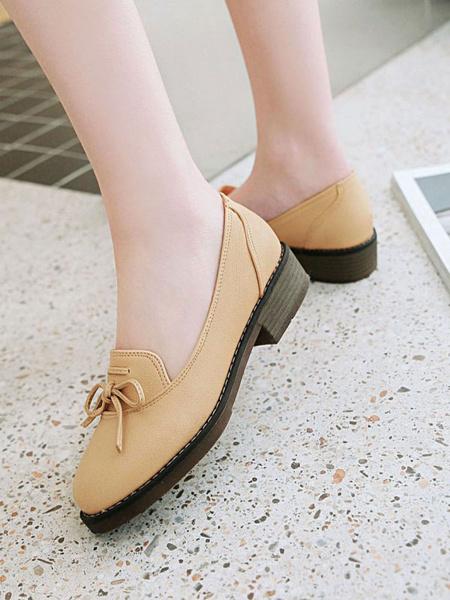 Milanoo Lolita Pumps Footwear Bows PU Leather Flat Lolita Shoes