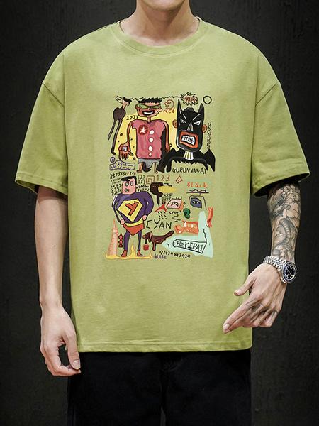 Milanoo T-shirts Loose-fitting T-shirt Featuring A Round Neck Short Sleeves Cartoon Batman Superman Print Mens Shirt