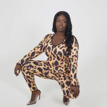 Monos Talla Grande Leopardo Elegante