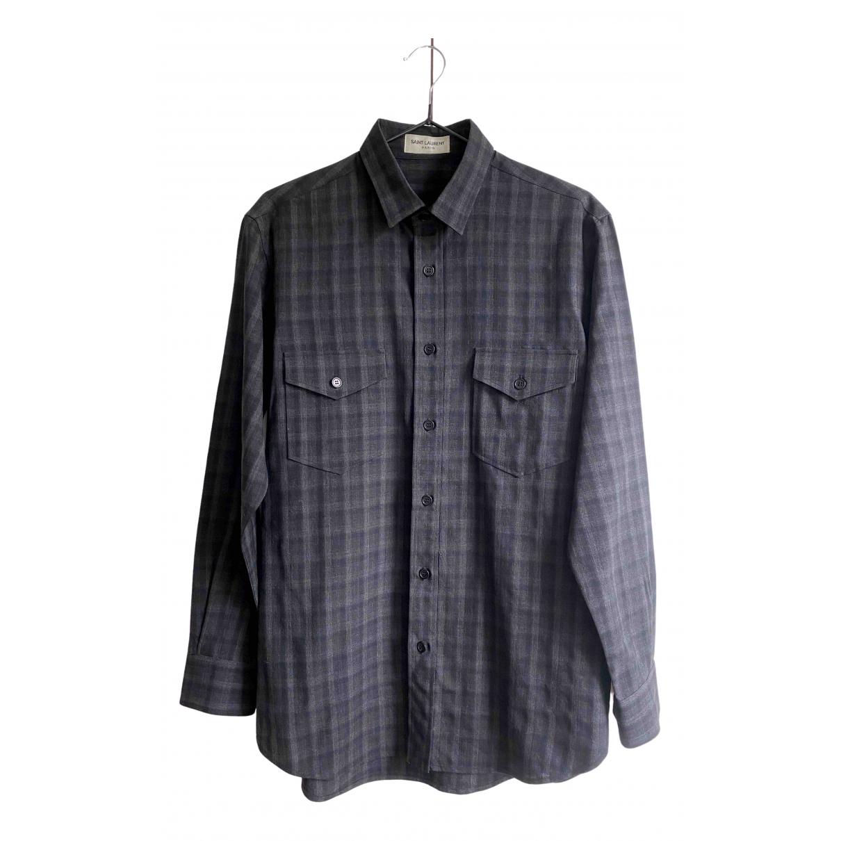 Saint Laurent \N Anthracite Wool Shirts for Men 40 EU (tour de cou / collar)
