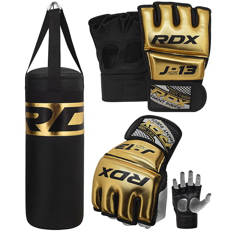 RDX J13 D'or Gants de MMA Grappling et de Ensemble Sac de Box d'or